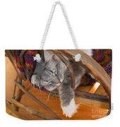 Cat Asleep In A Wooden Rocking Chair Weekender Tote Bag