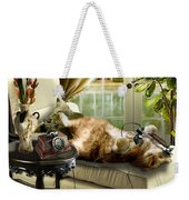 Funny Pet Talking On The Phone  Weekender Tote Bag