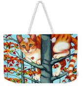 Orange Cat In Tree Autumn Fall Colors Weekender Tote Bag