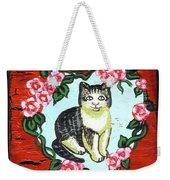 Cat In Heart Wreath 1 Weekender Tote Bag