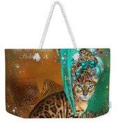 Cat In The Leopard Trim Santa Hat Weekender Tote Bag