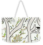 Cat In Tree White Background Weekender Tote Bag