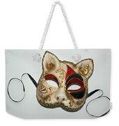 Cat Masquerade Mask On White Weekender Tote Bag