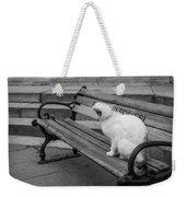 Cat On A Bench Weekender Tote Bag