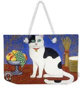 Cat On Thanksgiving Table Weekender Tote Bag