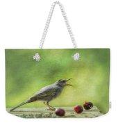 Catbird Eating Cherries Weekender Tote Bag