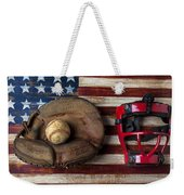 Catchers Glove On American Flag Weekender Tote Bag