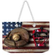 Catchers Glove On American Flag Weekender Tote Bag