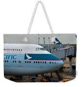 Cathay Pacific 747 Jumbo Jet Parked At Hong Kong Airport Weekender Tote Bag