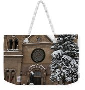 Cathedral Basilica Of St Francis In Snow Weekender Tote Bag