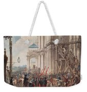 Catherine II On The Balcony Of The Winter Palace, Greeted By Guards And People On The Day Weekender Tote Bag
