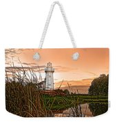 Cattails And Lighthouse In Indiana Weekender Tote Bag