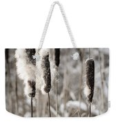 Cattails In Winter Weekender Tote Bag