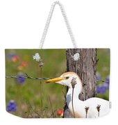 Cattle Egret At Fenceline Weekender Tote Bag