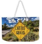 Cattle Guard Road Sign Weekender Tote Bag