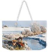 Cattle In Winter Weekender Tote Bag
