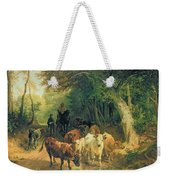 Cattle Watering In A Wooded Landscape Weekender Tote Bag