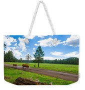 Cattles Roaming Through Hawley Lake Arizona Weekender Tote Bag