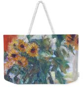 Sale - Sunflowers In Window Light - Original Impressionist - Large Oil Painting Weekender Tote Bag