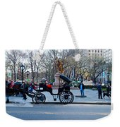 Central Park Horse Carriage Station Panorama Weekender Tote Bag