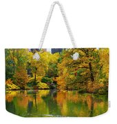 Central Park Pond Autumn Reflections Weekender Tote Bag