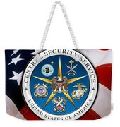Central Security Service - C S S Emblem Over American Flag Weekender Tote Bag
