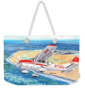 Cessna 206 Flying Over The Outer Banks Weekender Tote Bag