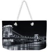 Chain Bridge Night Bw Weekender Tote Bag