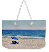 Chairs On The Beach With Umbrella Weekender Tote Bag