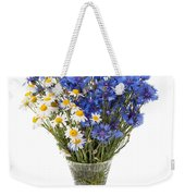 White Camomile And Blue Cornflower In Glass Vase  Weekender Tote Bag