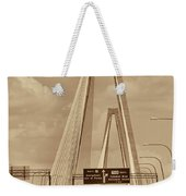 Charleston's Magnificent Cable Bridge In Sepia Weekender Tote Bag