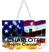 Charlotte Nc Patriotic Large Cityscape Weekender Tote Bag by Angelina Vick