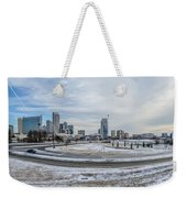 Charlotte North Carolina Skyline In Winter Weekender Tote Bag
