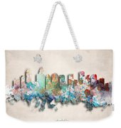 Charlotte Painted City Skyline Weekender Tote Bag by World Art Prints And Designs