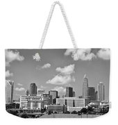 Charlotte Skyline In Black And White Weekender Tote Bag