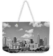 Charlotte Skyline In Black And White Weekender Tote Bag