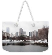 Charlotte Skyline In Snow Weekender Tote Bag