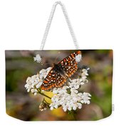 Checkerspot Butterfly On A Yarrow Blossom Weekender Tote Bag