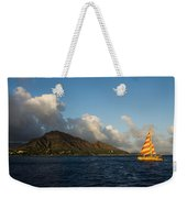 Cheerful Orange Catamaran And Diamond Head - Waikiki - Hawaii Weekender Tote Bag