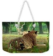 Cheetah Lunch-87 Weekender Tote Bag