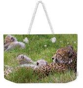 Cheetah With Cubs Weekender Tote Bag