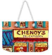 Chenoys Delicatessen Montreal Landmarks Painting  Carole Spandau Street Scene Specialist Artist Weekender Tote Bag