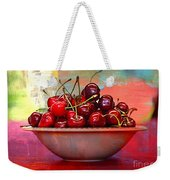 Cherries On The Table With Textures Weekender Tote Bag