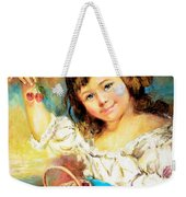 Cherry Basket Girl Weekender Tote Bag