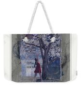 Cherry Blossom Red Abstract Weekender Tote Bag