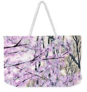 Cherry Blossoms In Spring Snow Weekender Tote Bag