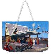 Chevron Gas Station At Santa's Village With Reindeer And Carl Hansen Weekender Tote Bag