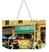 Chez Nick On Greene Avenue Montreal In Summer Cafe Art Westmount Terrace Bistros And Umbrellas Weekender Tote Bag