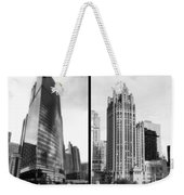 Chicago 333 And The Tower 2 Panel Bw Weekender Tote Bag