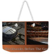 Chicago Blackhawks Before The Gates Open Interior 2 Panel Tan Weekender Tote Bag